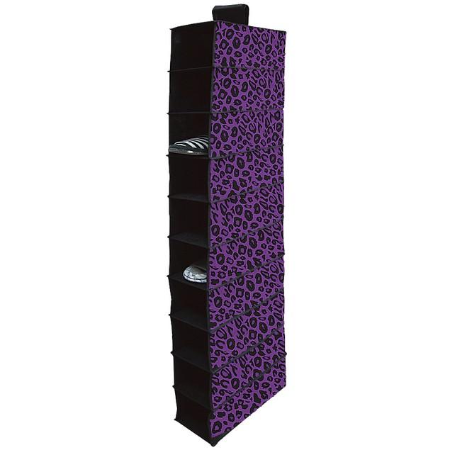10 Shelf Hanging Closet Organizer - Purple Cheetah