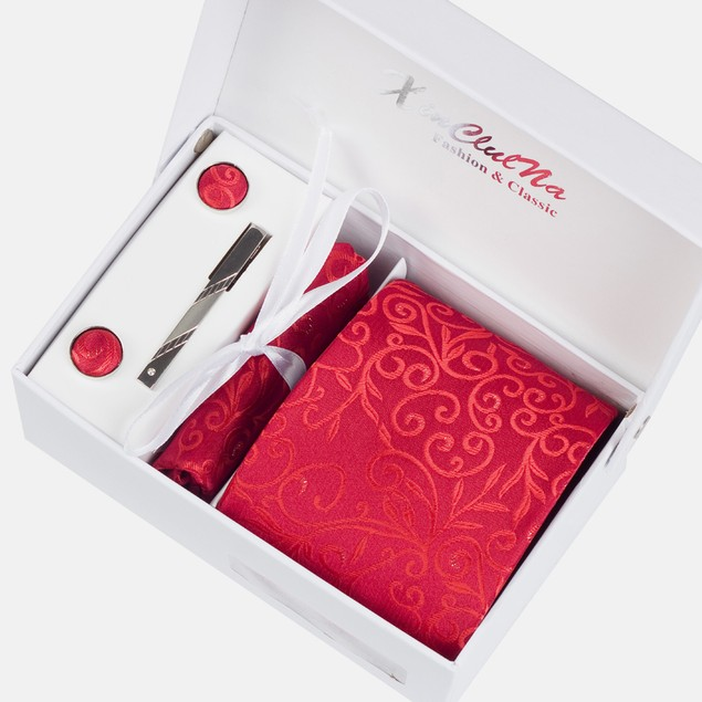 Mens Dress Suit Tie Set - Red