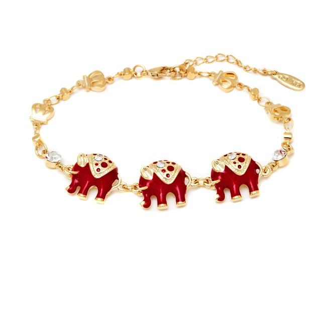 Gold and Red Enamel Elephant Bracelet