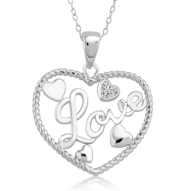 1/10 CTW Diamond Accent Necklace - Mini Heart