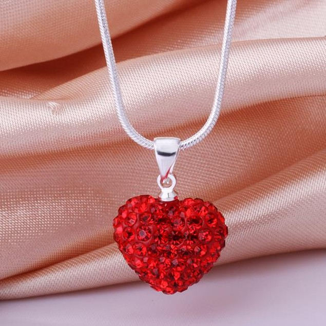 Solid Austrian Stone Crystal Heart Shaped Necklace - Red