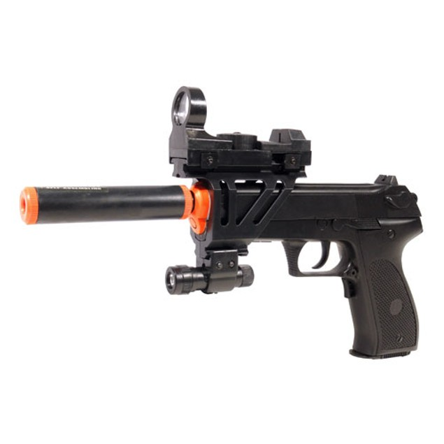Electric Full Auto Tactical 2026A Pistol FPS-150 Blowback, Silencer, Flashlight, Red Dot Scope Airsoft Gun