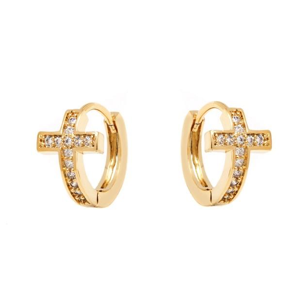 Gold & Crystal Cross Earrings