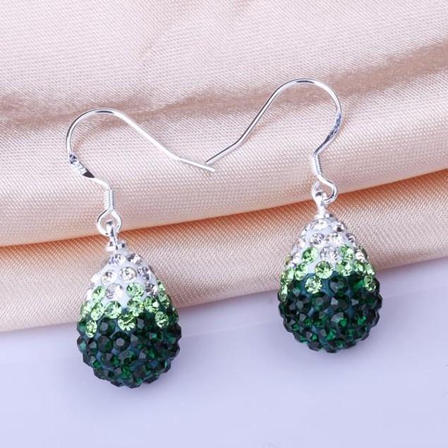 Oval Shaped Austrian Stone Drop Earrings -Green