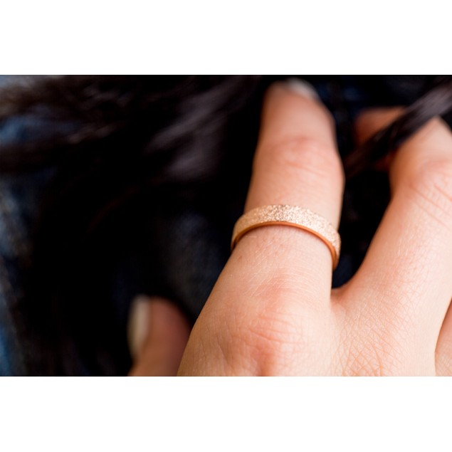 Rose Gold Tone Sandblast Ring