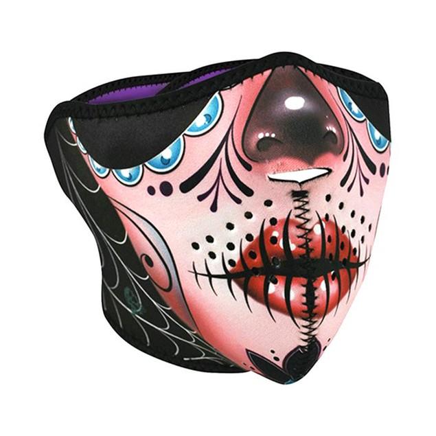 Neoprene 1/2 Face Mask - Sugar Skull Reversible to Purple