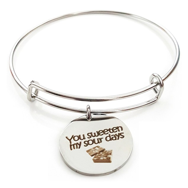 You Sweeten My Sour Days Stainless Steel Bangle