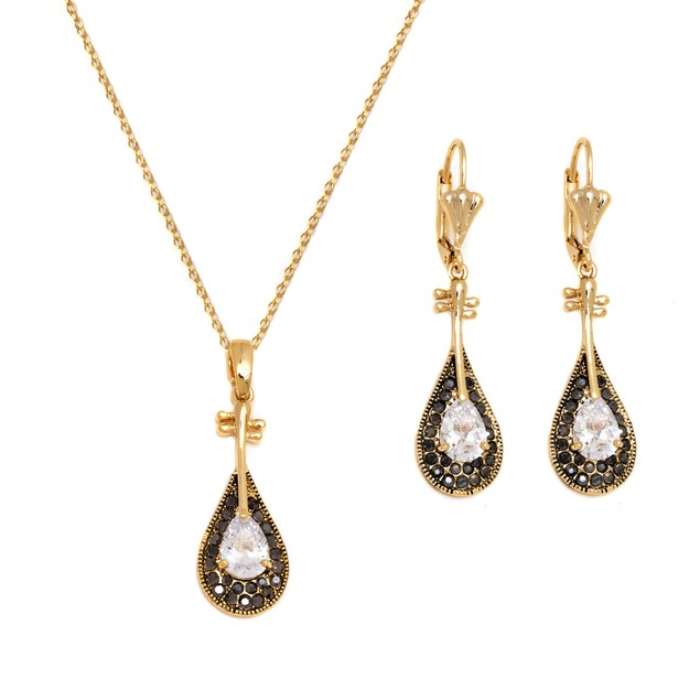 Gold and Sparkle Teardrop Set
