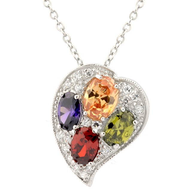Sterling Silver Multi Color Simulated Diamond Heart Pendant