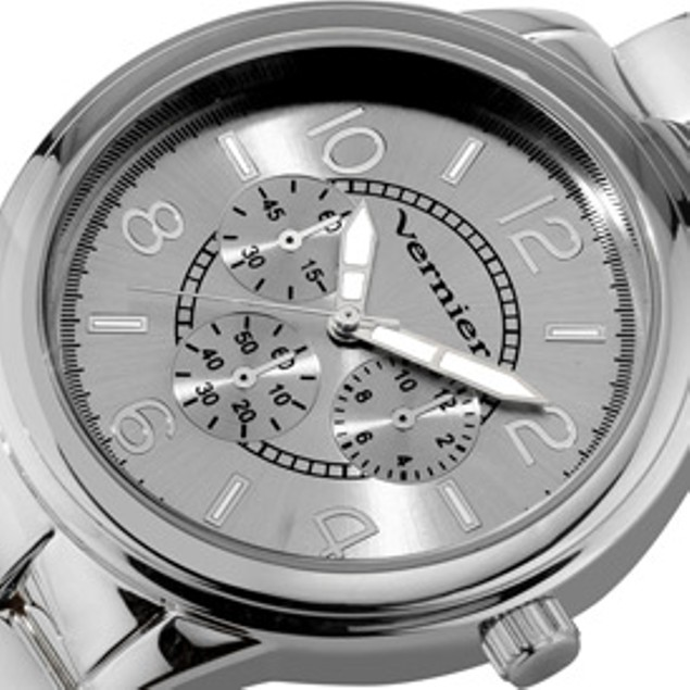 Vernier Women's Fashion Silver Tone Chrono-Look Dial Bracelet
