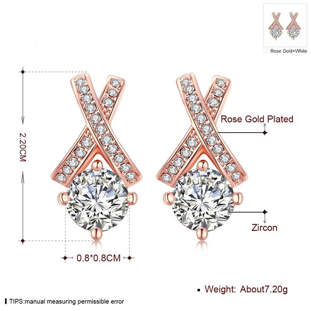 Rose Gold Plated Diamond Earring