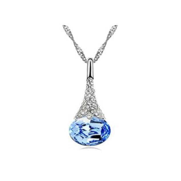Austrian Crystal Water Drop Pendant Chain Necklace - 5 Colors