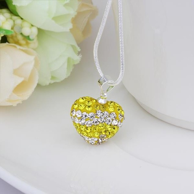 Multi-Toned Austrian Stone Heart Shaped Necklace - Yellow