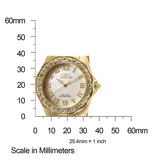 Women's Angel Aquamarine Bezel White MOP Dial 18K Gold Plated Stainless Steel