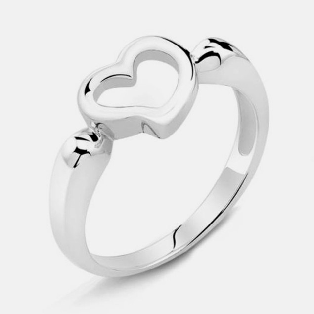 Solid Sterling Silver Platinum Finished Heart Ring