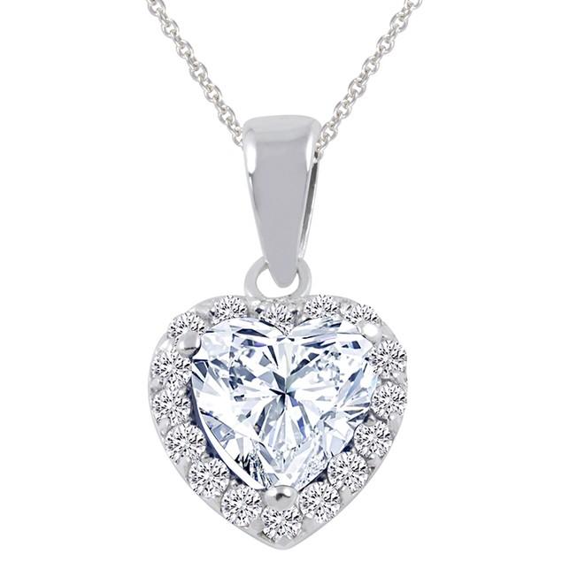 Sterling Silver Simulated Diamond Halo Heart Pendant