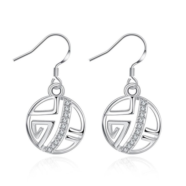 White Gold Plated Laser Cut Circular Artistic Drop Down Earrings