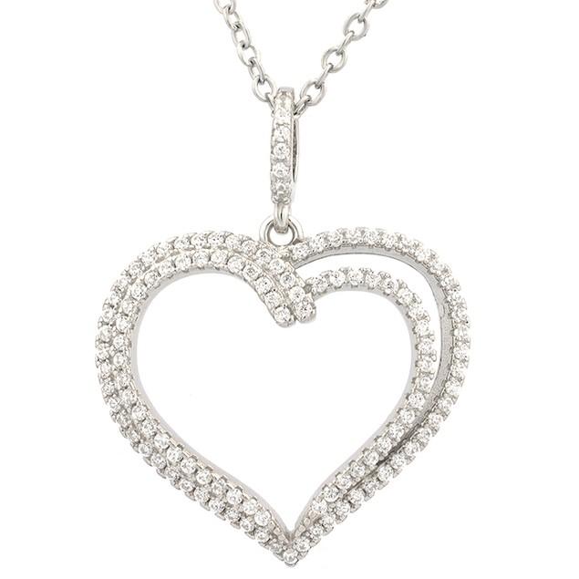 Sterling Silver Two Tier Heart Pendant