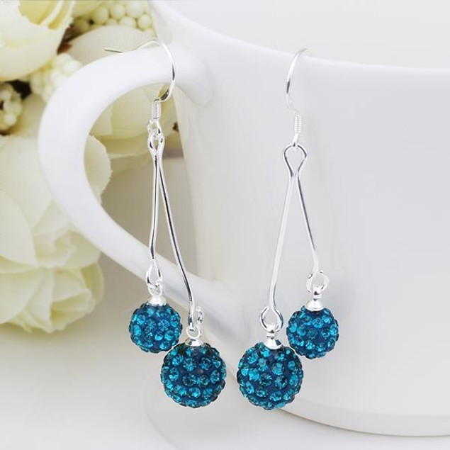 Austrian Stone Drop Earrings -Aqua Blue