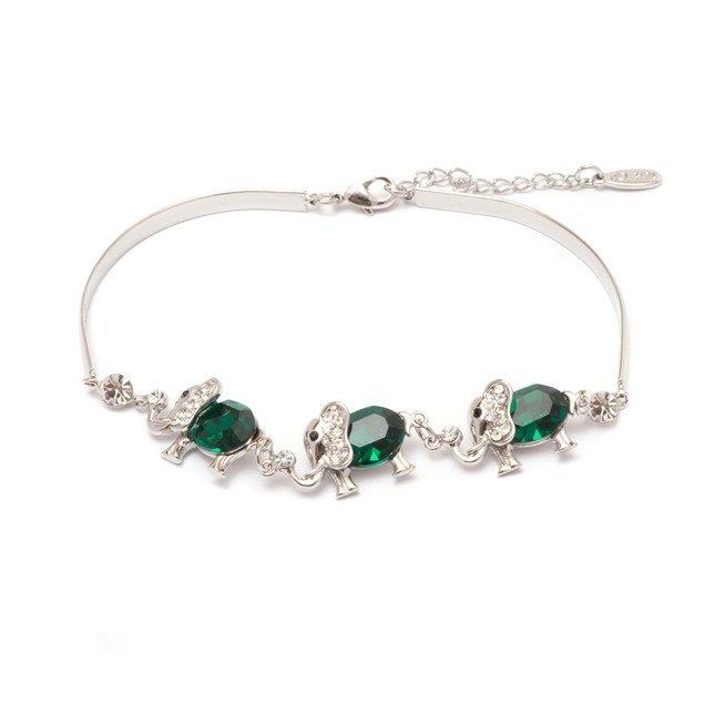 Silver & Olivine Crystal Triple Elephant Bracelet