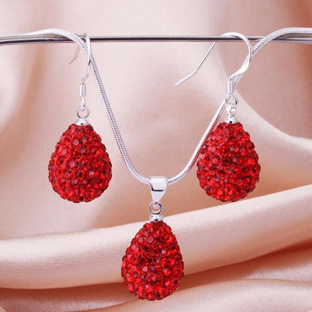 Austrian Stone Solid-Pave Pear Earring and Necklace Set - Red Crystal
