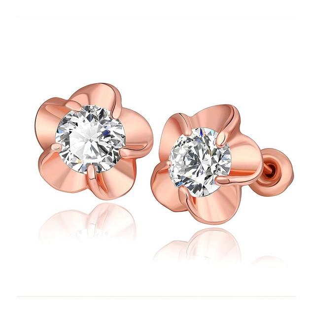 Gold Plated Rose Petal Stud Earrings
