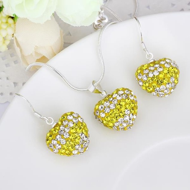 Multi-Pave Heart Drop Earring and Necklace Set - Yellow Crystal