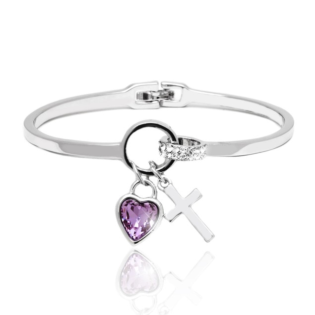 Silver and Amethyst Crystal Elements Heart and Cross Charm Cuff