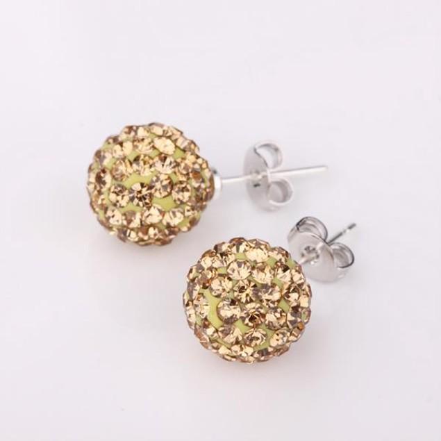 Vivid Royal Citrine Austrian Stone Crystal Stud Earrings