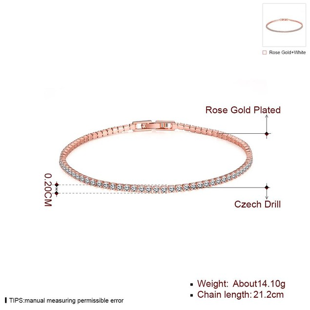 Tennis Style Gold Plated Bracelet