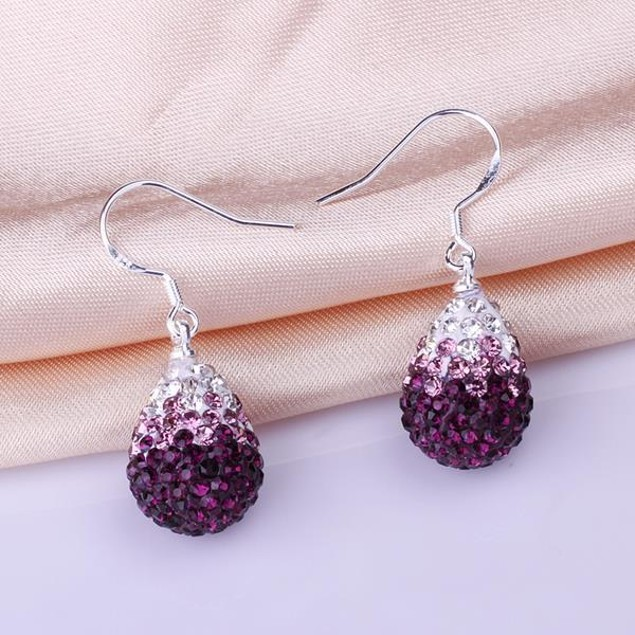 Oval Shaped Austrian Stone Drop Earrings -Dark Lavender