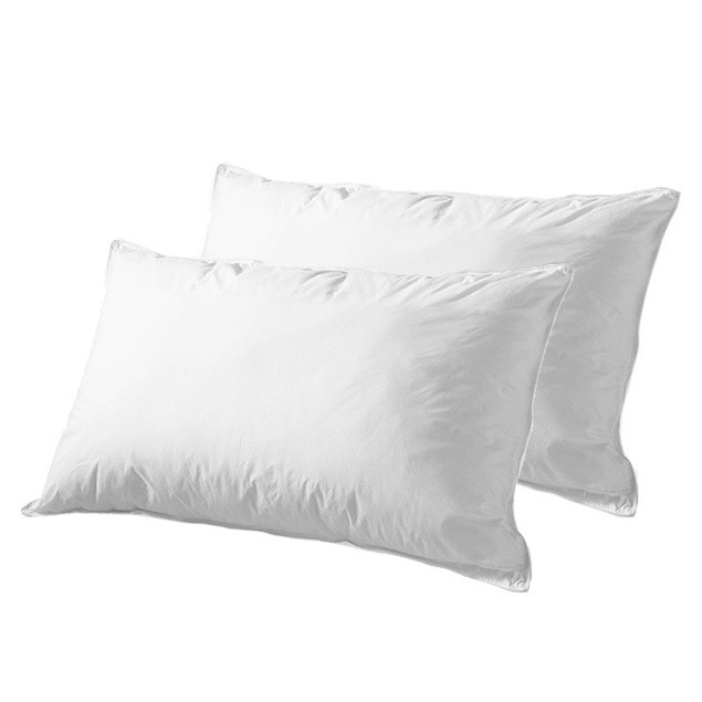 2-Pack Feather Down Pillows - 100% Cotton Cover