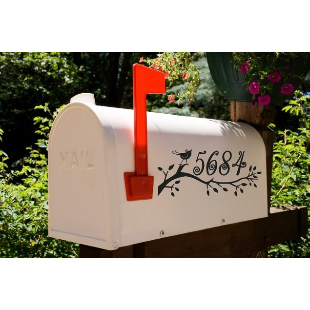 Swirly Bird Mailbox Decal Design 23