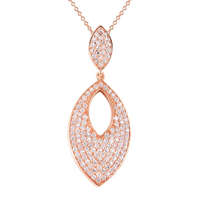 18K Rose Gold Plated Simulated Diamond Eye Shaped Necklace