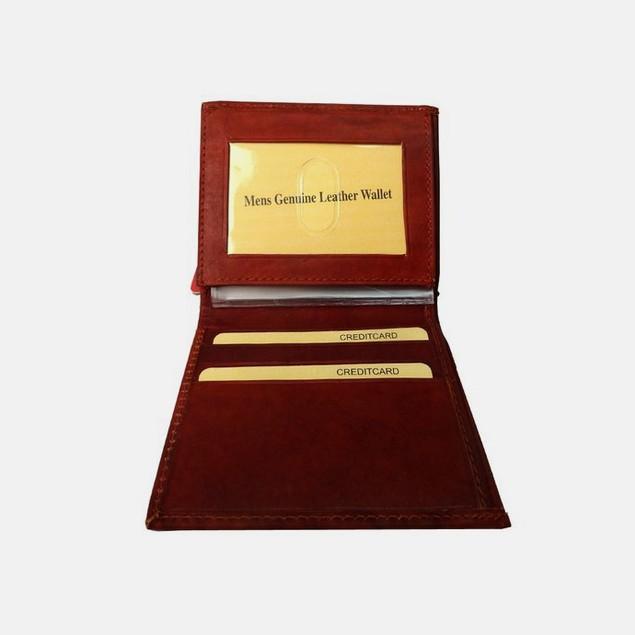 Brown Ultra-Slim Genuine Leather Bilfold Wallet