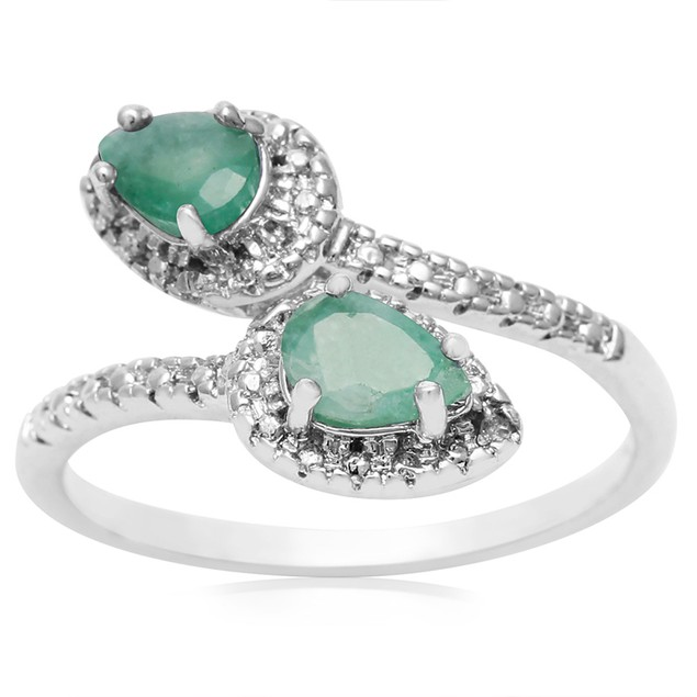 Emerald and Diamond Wrap Ring
