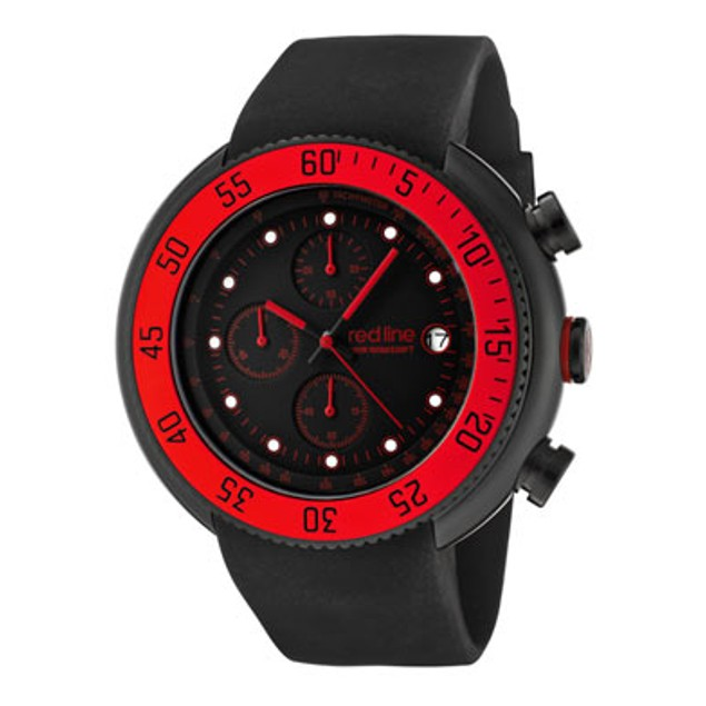 Red Line Men's Driver Chronograph Black Dial Black IP Case Black Silicone