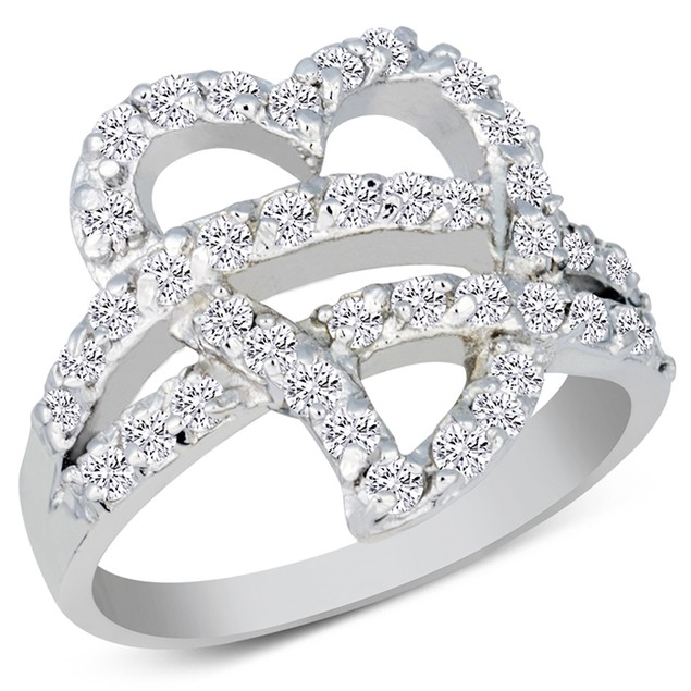 Sterling Silver Simulated Diamond Interlocking Pave Heart Ring