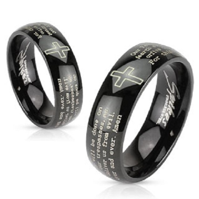 Cross and Lords Prayer Black Stainless Steel Ring