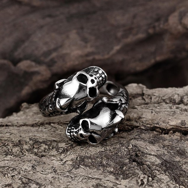 Open Ended Abstract Skulls Stainless Steel Ring