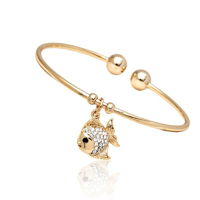 18K Gold Plated Gold and Clear Swarovski Elements Fish Charm Bangle