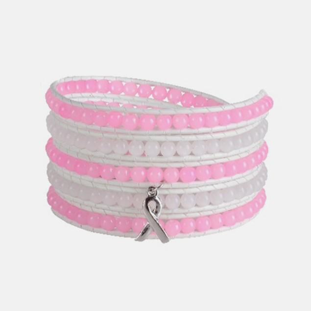 Pink Ribbon Wrap Bracelet