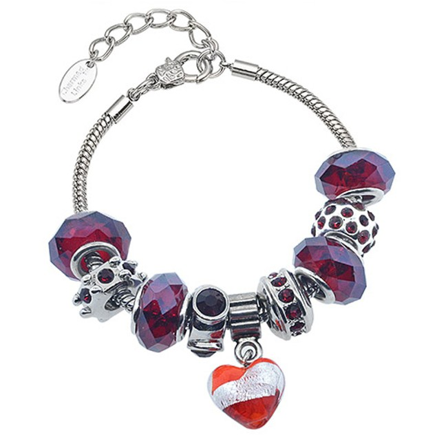Glass Marble Heart Murano-Style Crystal Bracelet