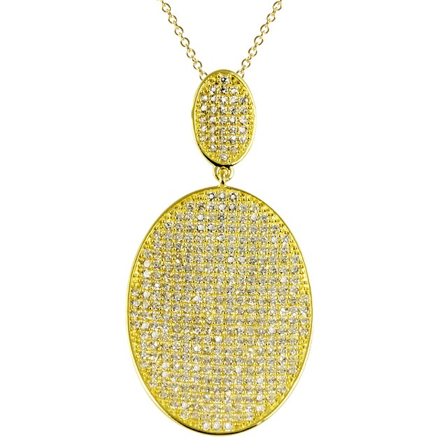 18K Gold Plated Simulated Diamond Oval Shaped Pave Necklace