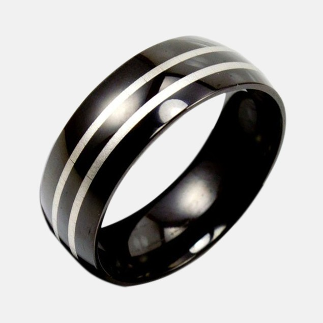 Stainless Steel Ring w/ Black Bands & Laser Design