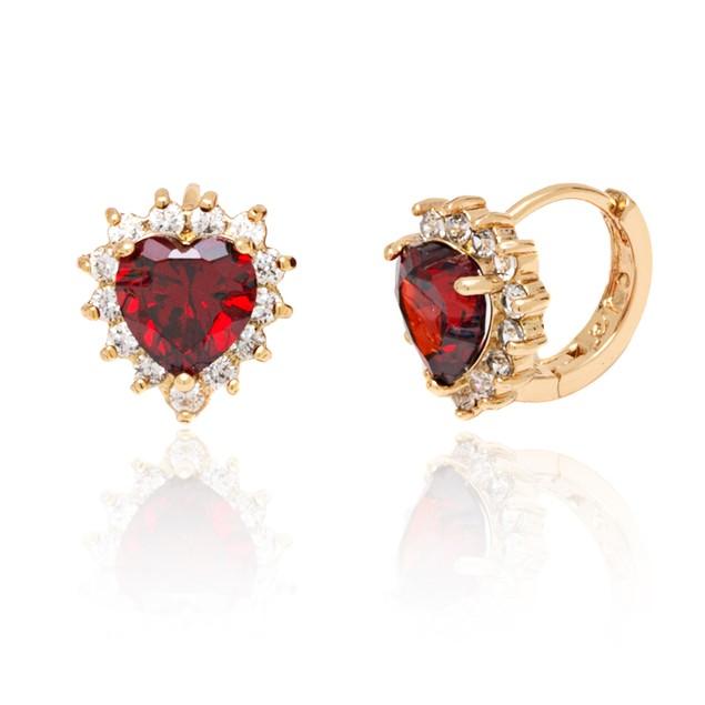 Ruby Crystal Heart Huggie Earrings