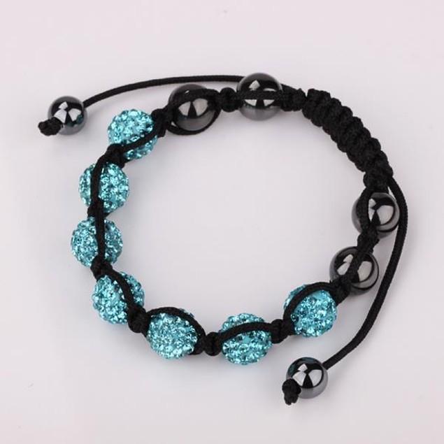 80's Glam Six Beads Austrian Crystal Bracelet - Light Sapphire