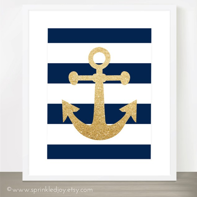 Navy Stripe Anchor Customized Print