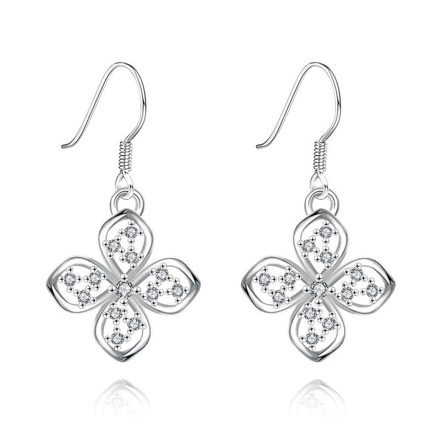 White Gold Plated Hollow Clover Drop Down Earrings