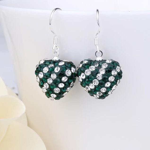 Dark Green Crystal Heart Earrings